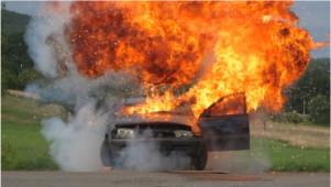 Explosion für Feuerwehrübung