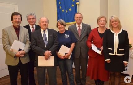 Kurt Brenner, Hans-Peter Walter, Hans-Thorwald Schäfer, Cornelia Bierlmeier, Dieter Blessing, Johanna Schönherr und Bürgermeisterin Dorothea Bachmann